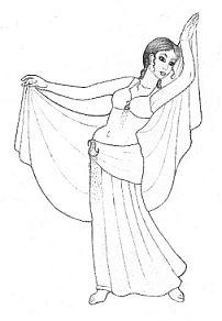 Orientalische Tänzerin mit Schleier Zeichnung